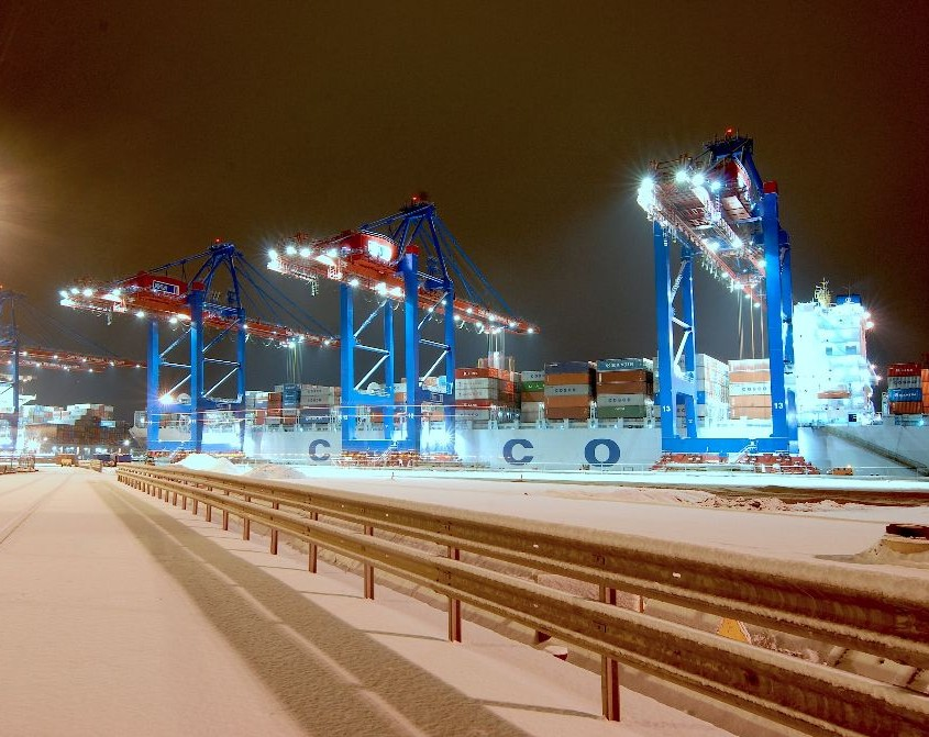 Hafenkrane Hamburger Hafen bei Nacht