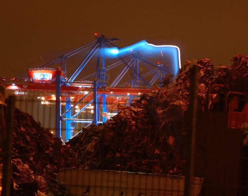 Lichtspiel Hamburg Hafen Hafenkran