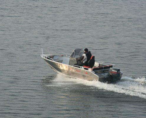 Ums 500 cc, Bestseller Angelboot, länge 5.4 meter, breite: 2.1 meter, gewicht: 480 kg, marine grade aluminium 5083, stärke: 4 mm max 6 personen