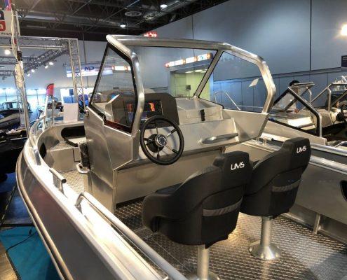 Ums 550 cc, länge 5.6 meter, breite: 2.3 meter, gewicht: 630 kg, marine grade aluminium 5083, stärke: 4 mm