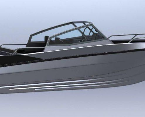 Ums 600 tt, länge 6.5 meter, breite: 2.3 meter, gewicht: 820 kg, marine grade aluminium 5083, stärke: 4 mm, CE Kategorie C, max 7 personen